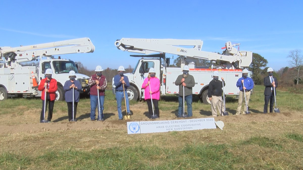 Arab Electric Cooperative and TVA officials break ground on new substation.