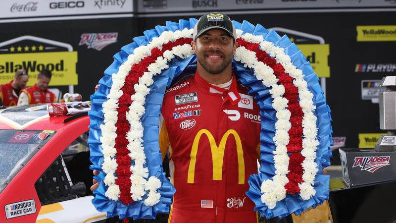 Bubba Wallace becomes second Black Driver to win a NASCAR Cup race at Talladega SuperSpeedway...