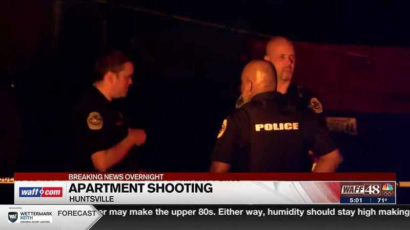 Apartment shooting scene in Huntsville