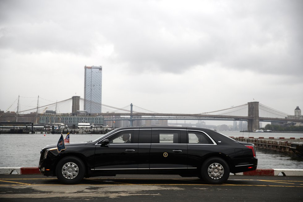 The presidential limo sits at the Downtown Manhattan Heliport before the arrival of President...
