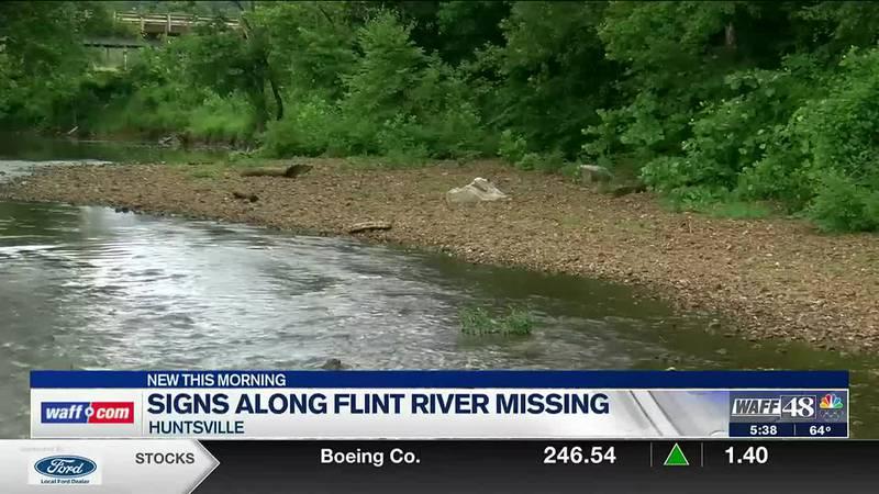 Signs missing along Flint River