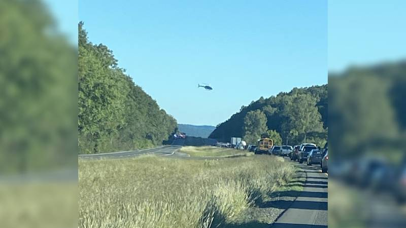 Car wreck on Highway 72 causes traffic in Jackson County  on Friday.