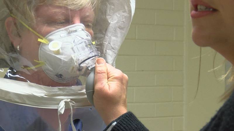 First responders get educated on coronavirus. ADPH fits them for N95 masks.