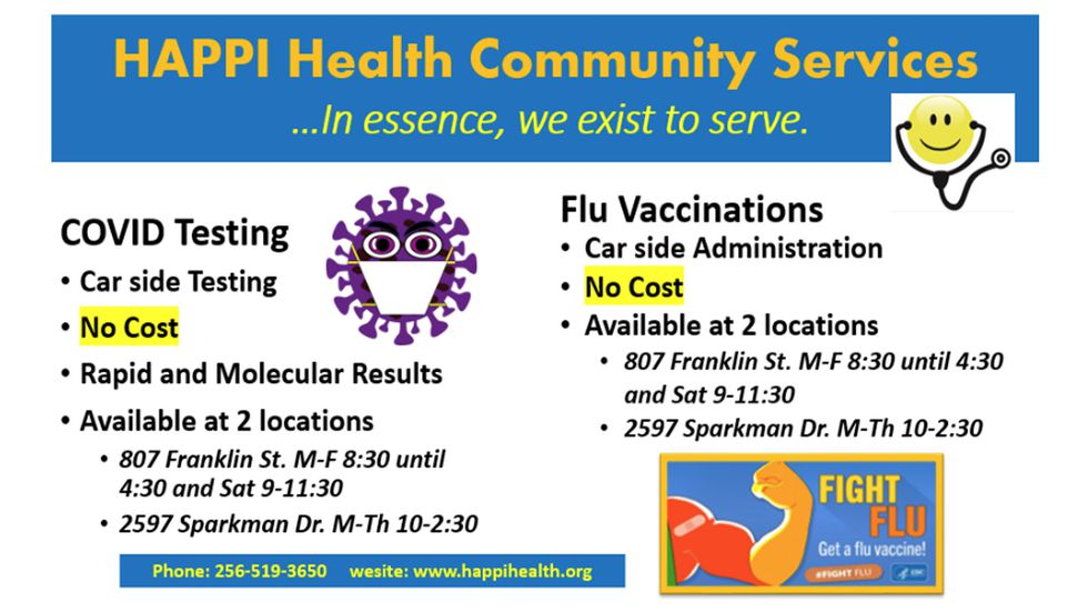 HAPPI Health Community Services is offering free COVID testing and flu vaccines