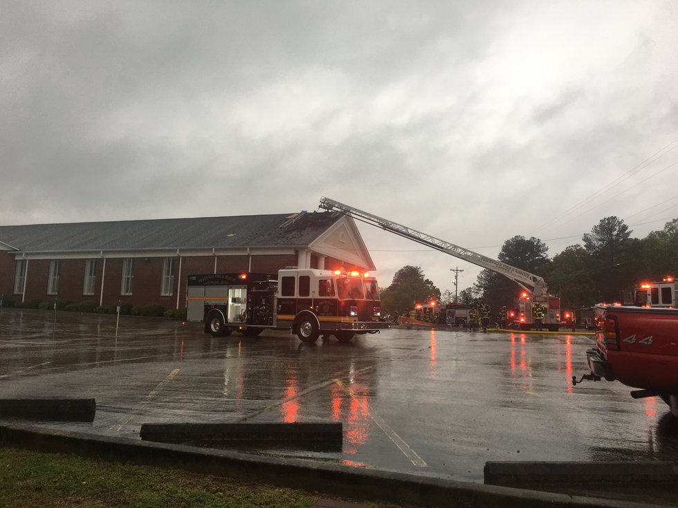 The roof of the church was damaged by a fire on Sunday, April 12.