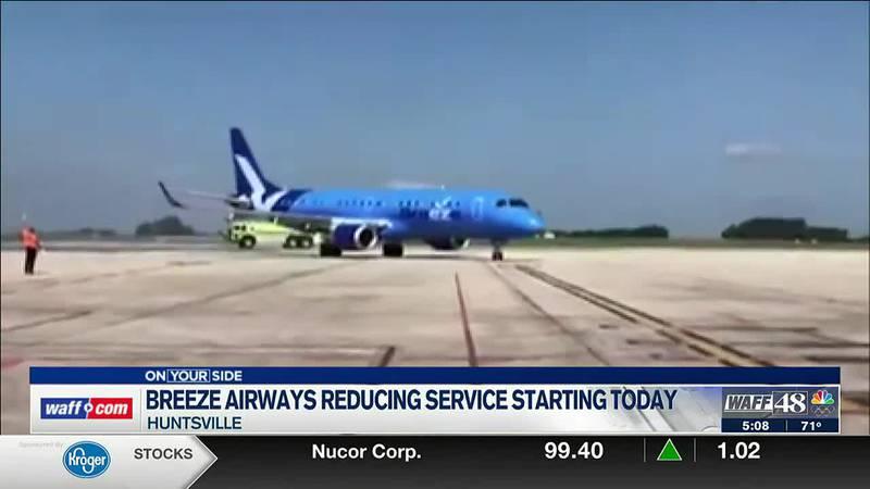 Breeze Airways to reduce Huntsville service beginning Thursday