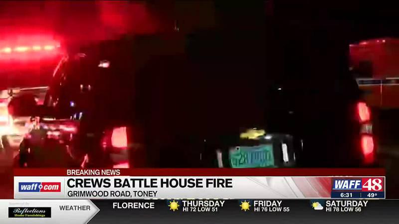 Crews battle house fire in Toney - 6:30 a.m. update