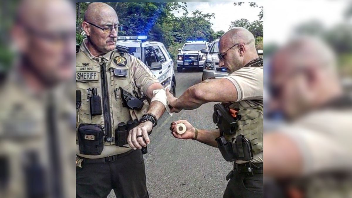 A Morgan County deputy getting treatment for his injuries