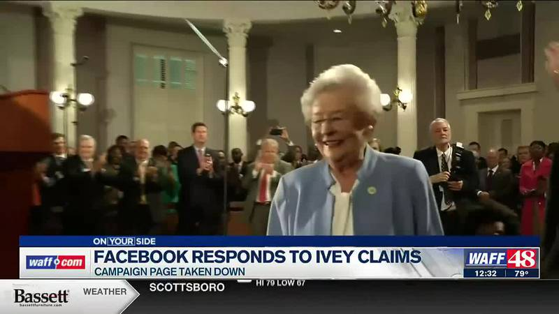 Facebook has responded to Gov. Ivey's temporary Facebook page ban.