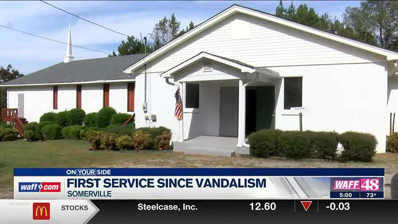 First service since Somerville church vandalism