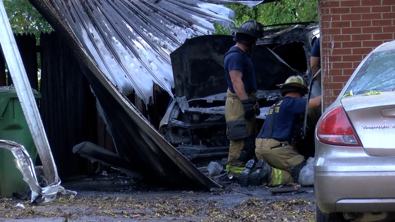 Firefighters believe the fire started in the parked car.