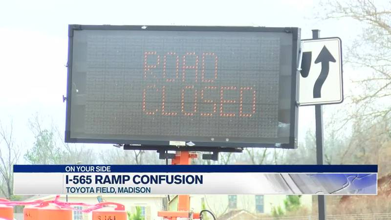 The I-565 ramp near Toyota Field is causing confusion for drivers