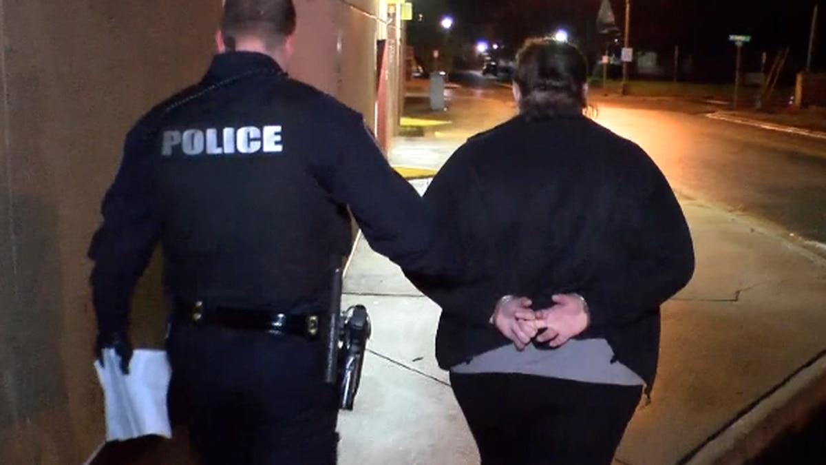 Former teacher Brittany Howard being taken to jail. (David Whisenant-WBTV)