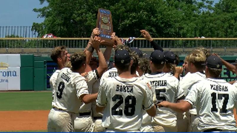 Phil Campbell celebrates their first ever State baseball Championship at Riverwalk Stadium