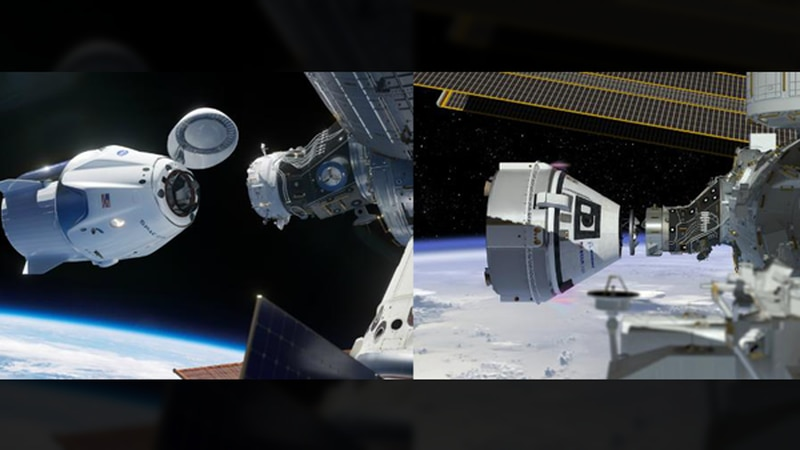 Boeing Starliner and SpaceX Crew (Source: NASA)