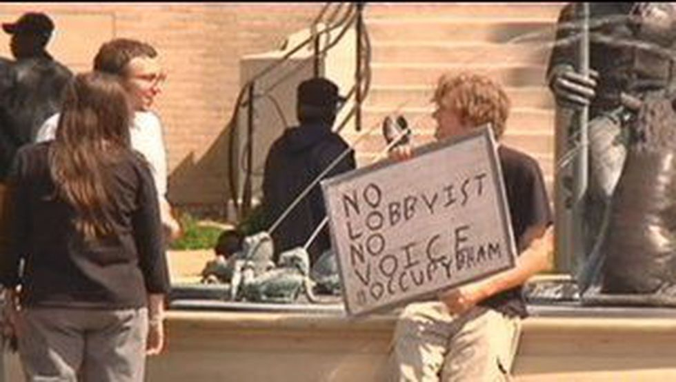 Protesters gathered at Big Spring Park Thursday night.