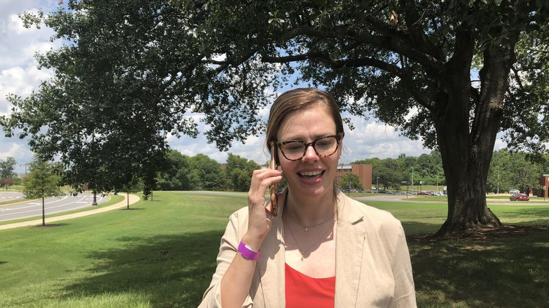 Dr Lea Yerby takes a phone call Tuesday.
