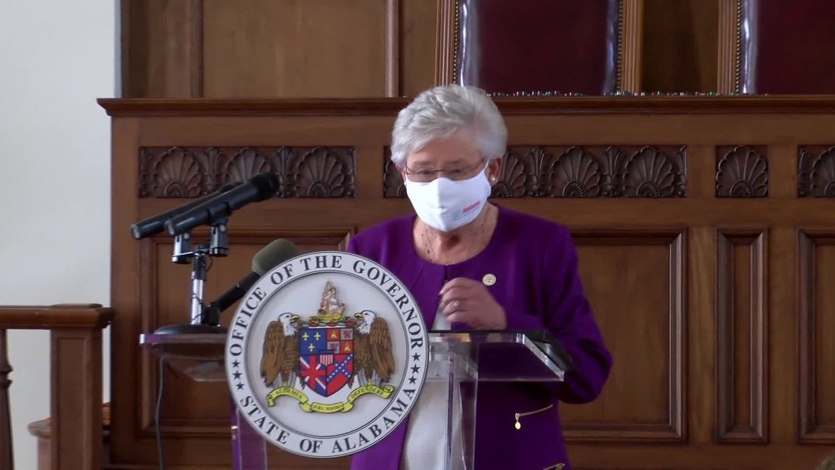 Alabama Gov. Kay Ivey this week urged people to wear masks in public after the statewide mask...