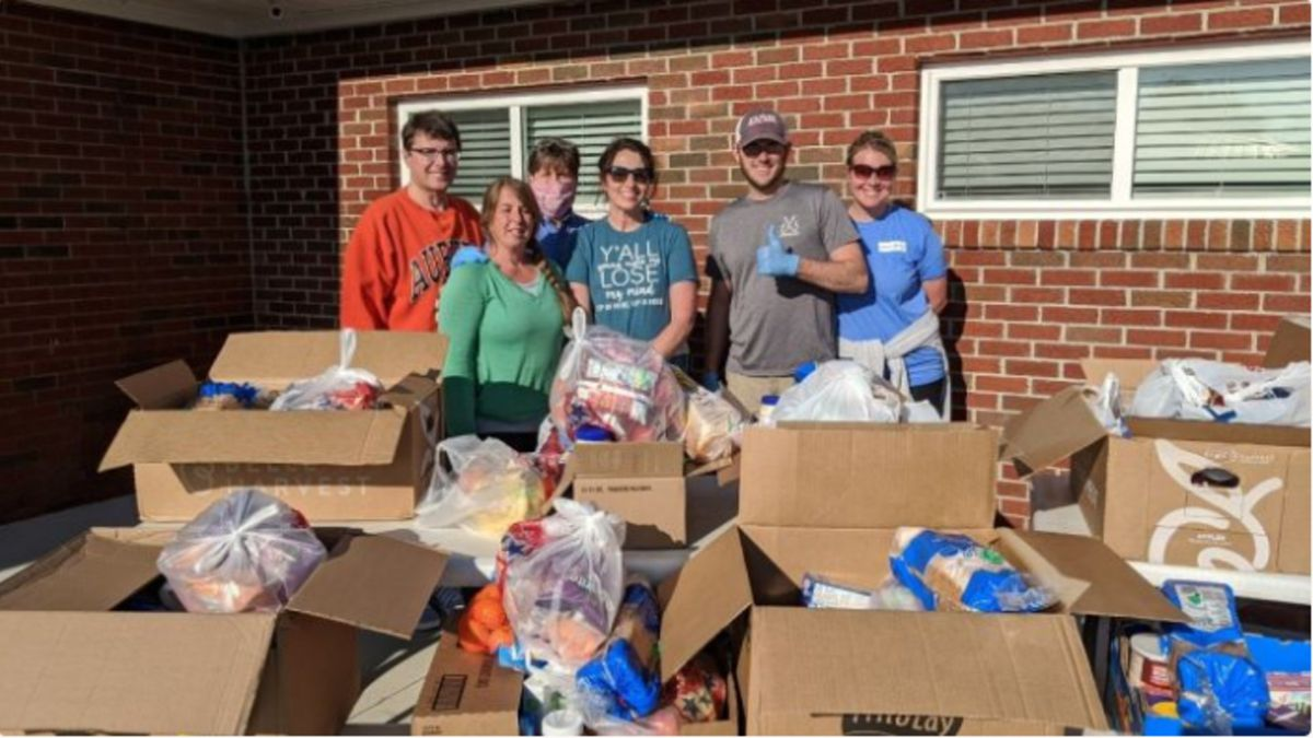 Group with food donations for Blessing Bags