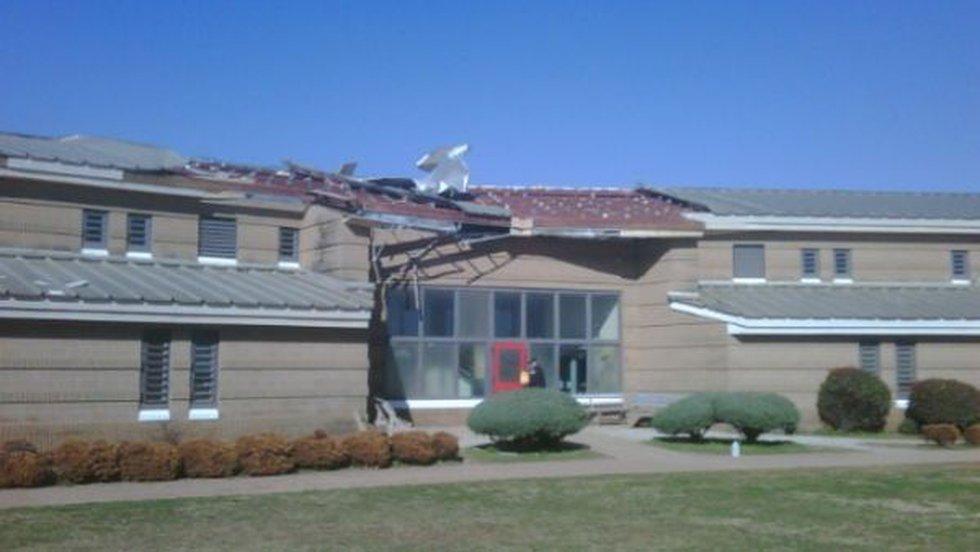 Tornado damage to a dorm at Limestone Correctional Facility.