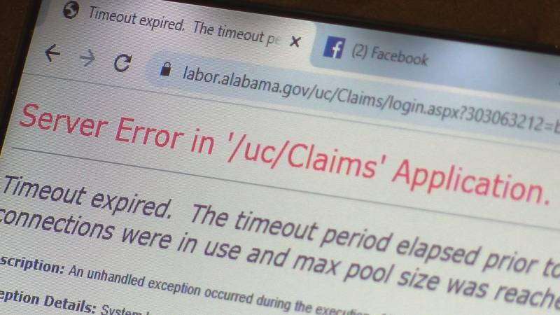 """Alabama Department of Labor officials say they have been """"swamped"""" with claims, resulting in..."""