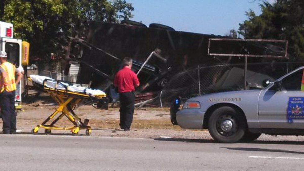 The flatbed truck overturned on Highway 231 in Morgan City.