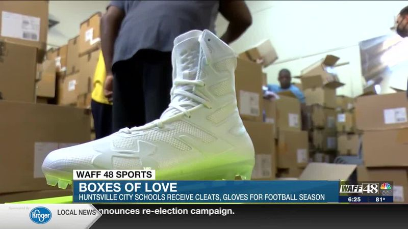 Boxes fo love: Under Armour sends boxes of cleats and gloves to Huntsville City School football...