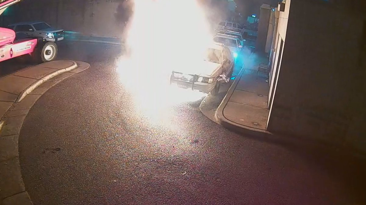 A patrol car caught fire suddenly outside the Etowah County Sheriff's Office Monday morning....