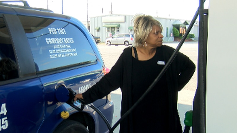 Driver Beverly Robinson says she went to four gas stations before being able to fill up on...