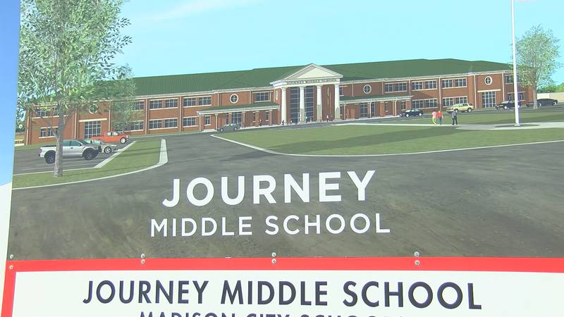Construction is underway for Journey Middle School, located next to the Madison City district...