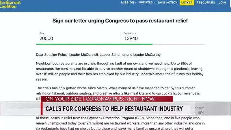 Calls for Congress to help restaurant industry
