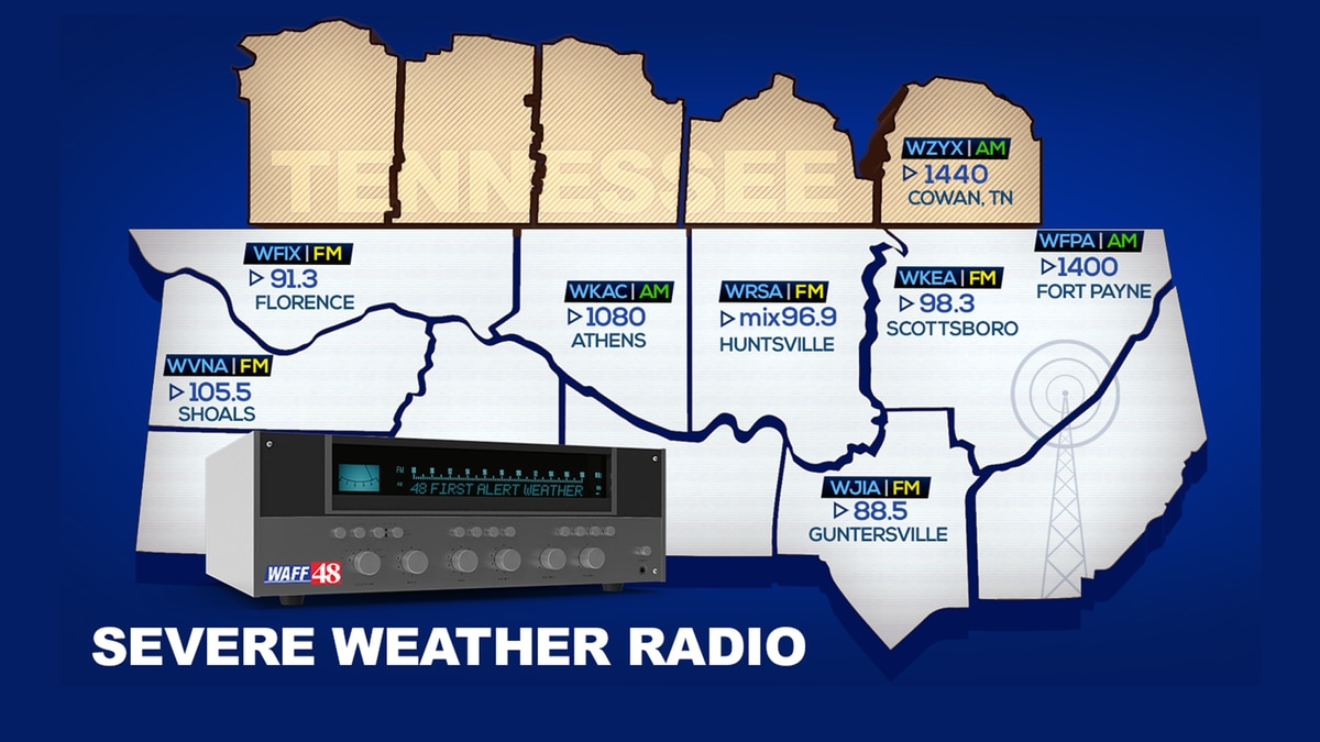 WAFF 48 simulcasts on these stations during severe weather