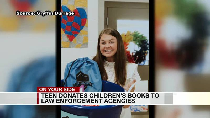 teen donated children's books to law enforcement agencies