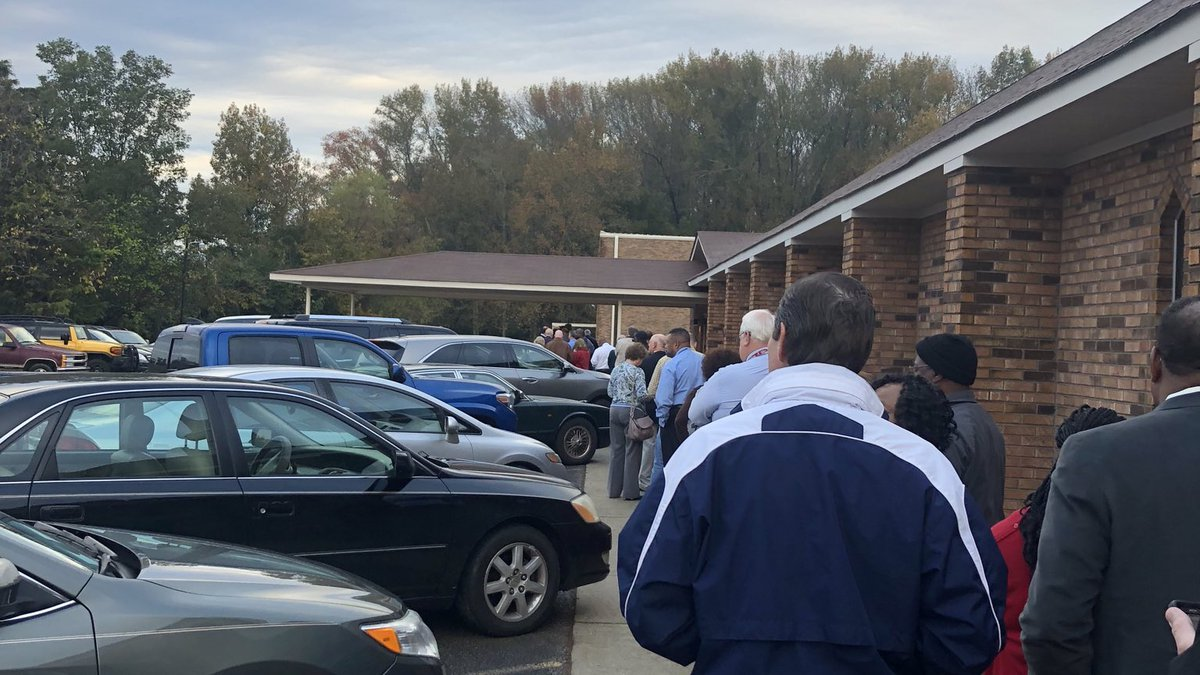 Voters waiting in line to cast their ballot. Source: WAFF