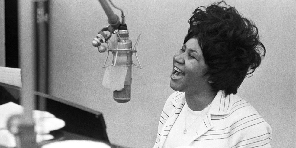 Aretha Franklin recording at the piano at FAME Recording Studios