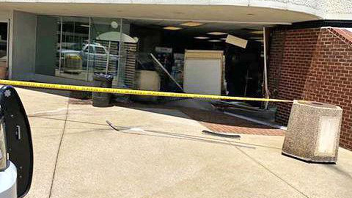 The Athens Post Office was damaged Saturday after a woman ran into the side of the building...