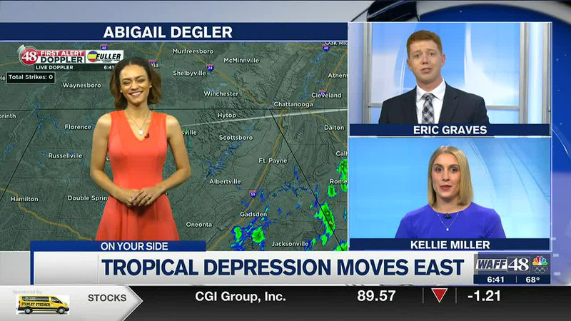Warm & muggy Sunday; tropical depression Claudette moves east