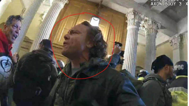 Bingham is seen circled in red inside the Captiol building