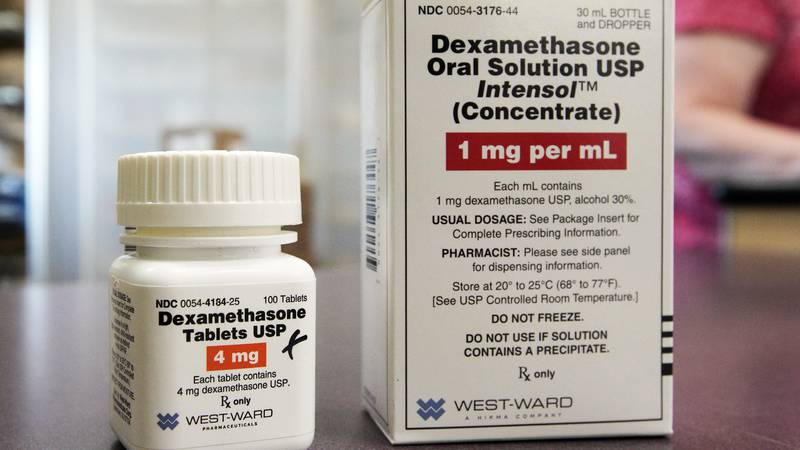 FILE - This Tuesday, June 16, 2020 file photo shows a bottle and box for dexamethasone in a...