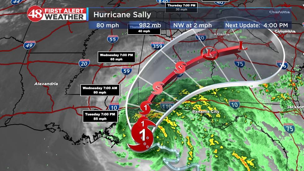 Hurricane Sally's Forecasted Path