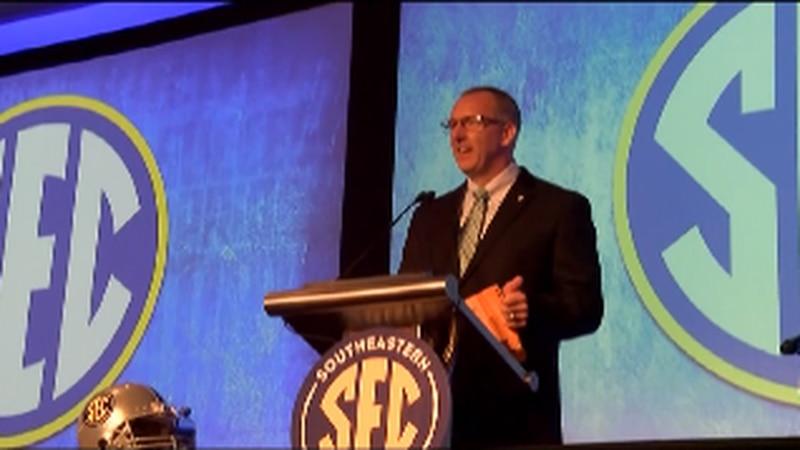 SEC Commissioner Greg Sankey addresses media during SEC media days