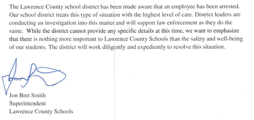 Statement from Superintendent Jon Bret Smith