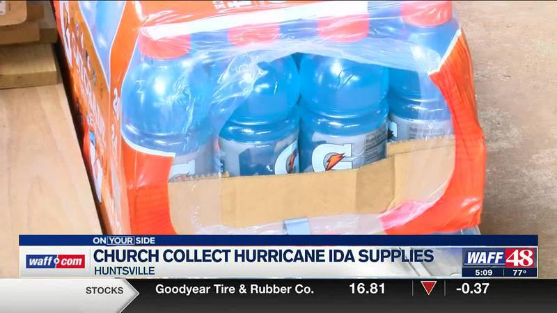 Church collects Hurricane Ida supplies