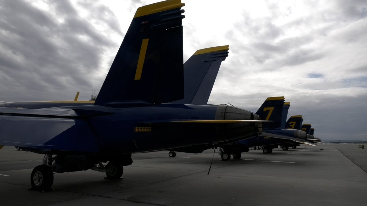 F-18s from the US Navy Blue Angels parked at Eielson Air Force Base ahead of an air show.