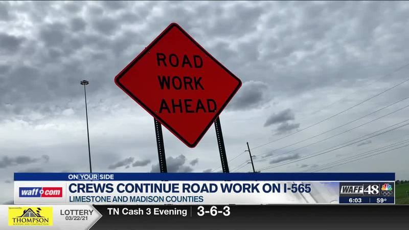 Crews continue road work on I-565