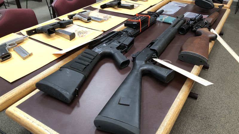 Guns recovered from two gun store burglaries in Tuscaloosa on December 23rd, 2019.