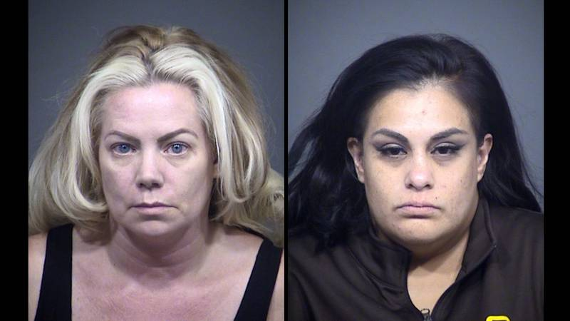 Mary Garcia (left) and Melinda Rodriguez (right) face several charges for organized retail theft.