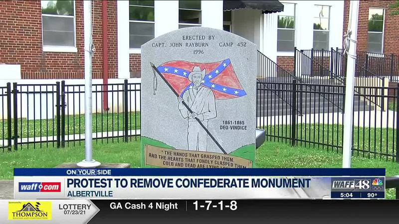 Protest held in Albertville to remove confederate monument