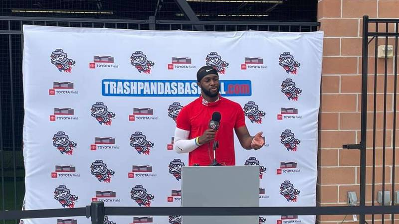 Outfielder Torii hunter Jr. addresses the Media during the Rocket City Trash Pandas first Media...