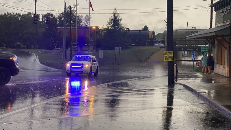 Officials have closed Main St. in Ardmore after flash flooding in the area.